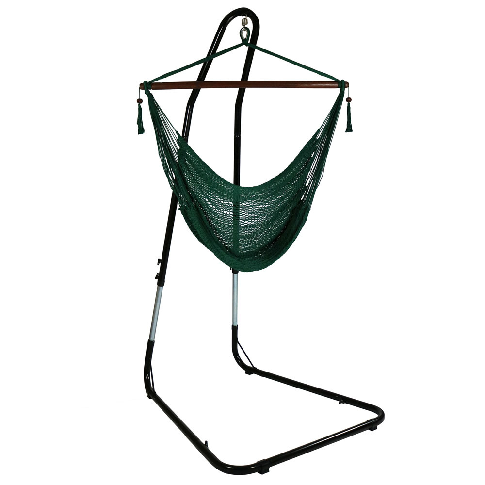 Hanging Rope Hammock Chair Swing Stand Caribbean Green Patio Yard Porch Bedroom Photo