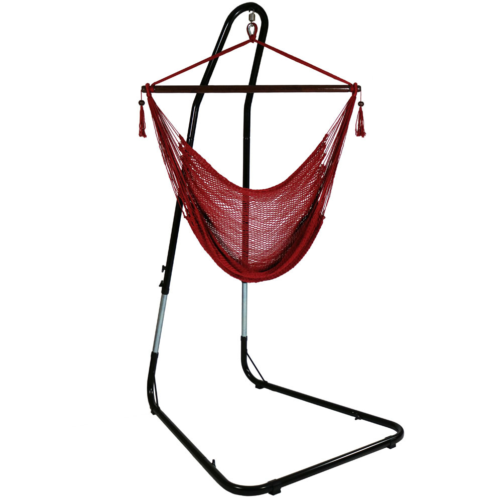 Sunnydaze Hanging Rope Hammock Chair Swing with Adjustable Stand, Extra Large Caribbean, Red - For Indoor or Outdoor Patio, Yard, Porch, and Bedroom