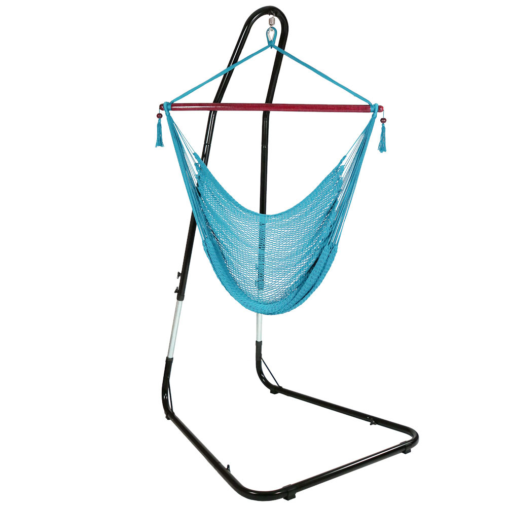 Hanging Rope Hammock Chair Swing Stand Caribbean Sky Blue Patio Yard Porch Bedroom Photo