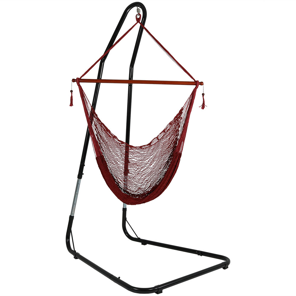 Hanging Cabo Hammock Chair Stand Wide Seat Red Photo