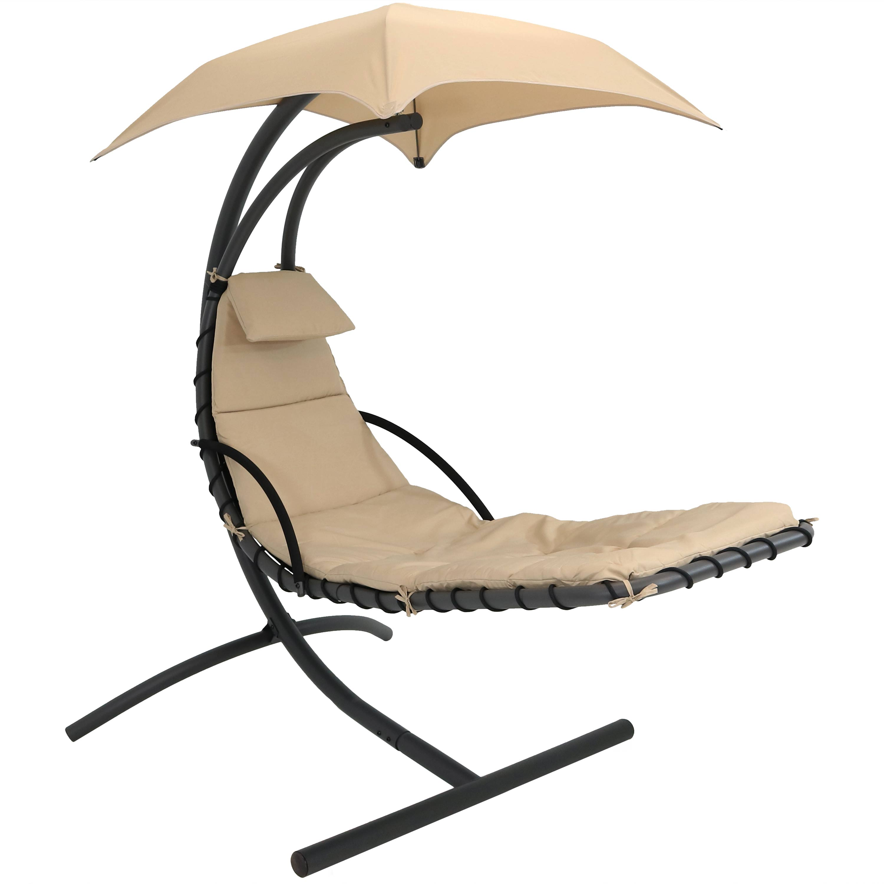 Floating Chaise Lounger Hanging Hammock Patio Swing Chair Canopy Arc Stand Beige Photo