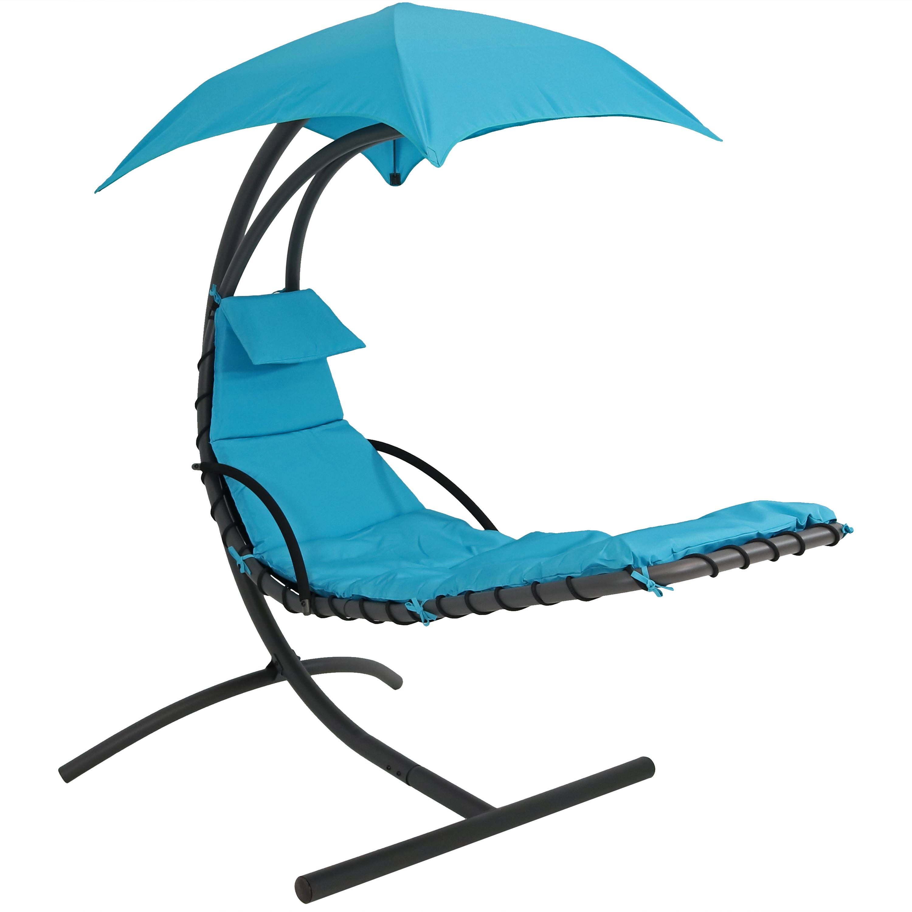 Floating Chaise Lounger Hanging Hammock Patio Swing Chair Canopy Arc Stand Teal Photo