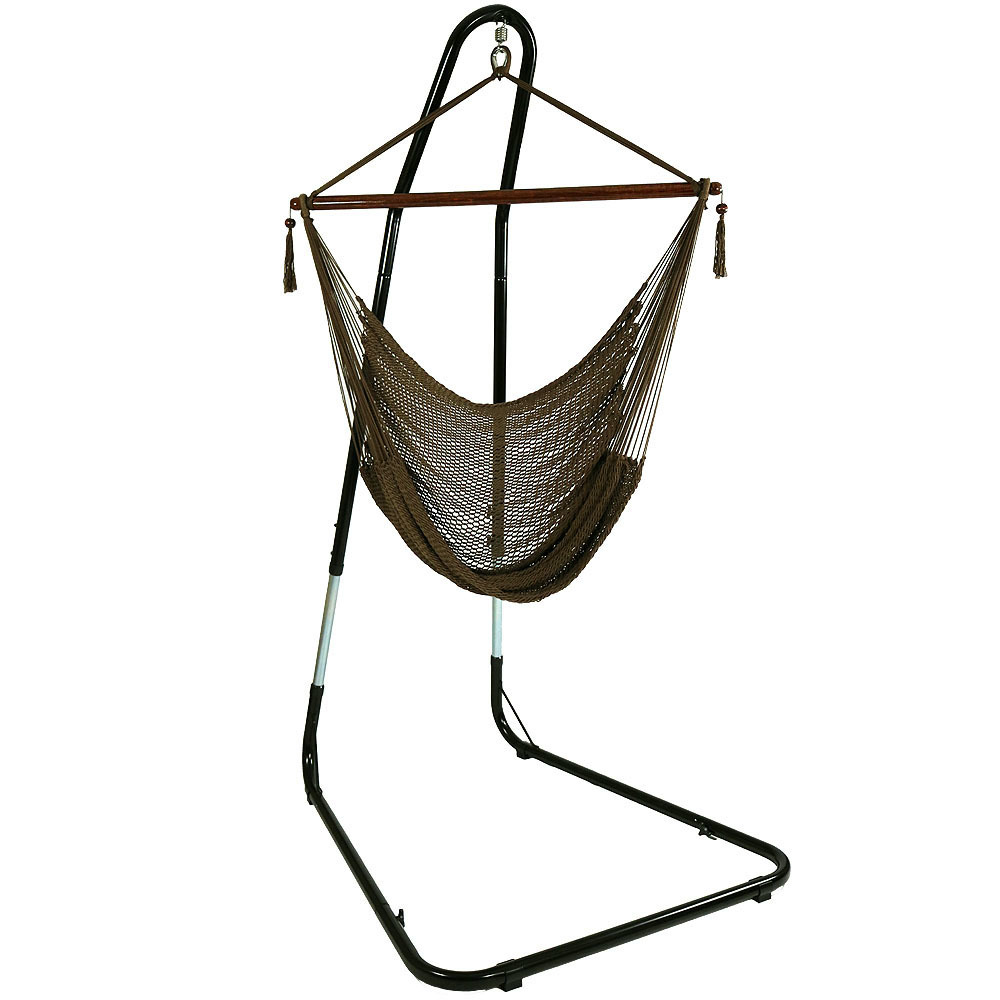 Hanging Rope Hammock Chair Swing Stand Caribbean Mocha Patio Yard Porch Bedroom Photo
