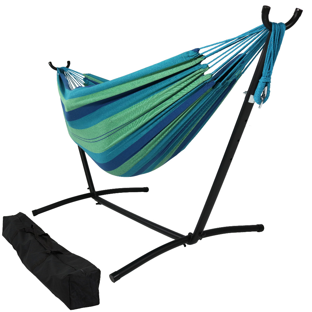 Sunnydaze Brazilian Double Hammock with Stand and Carrying Pouch, 2 Person Portable Bed - For Indoor or Outdoor Patio, Yard, and Porch (Beach Oasis)
