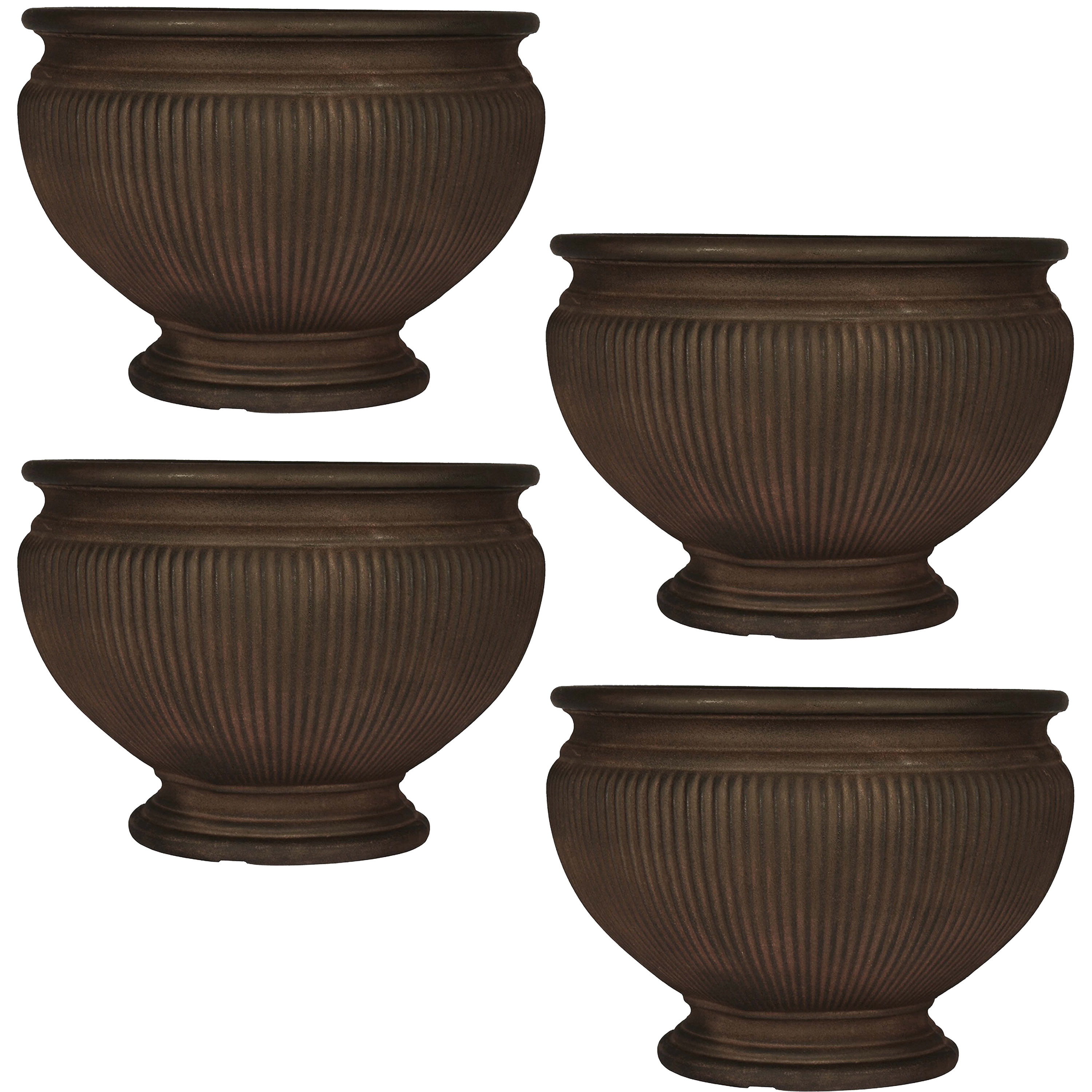 Ribbed Urn Flower Pot Planter Double Walled Rust Photo