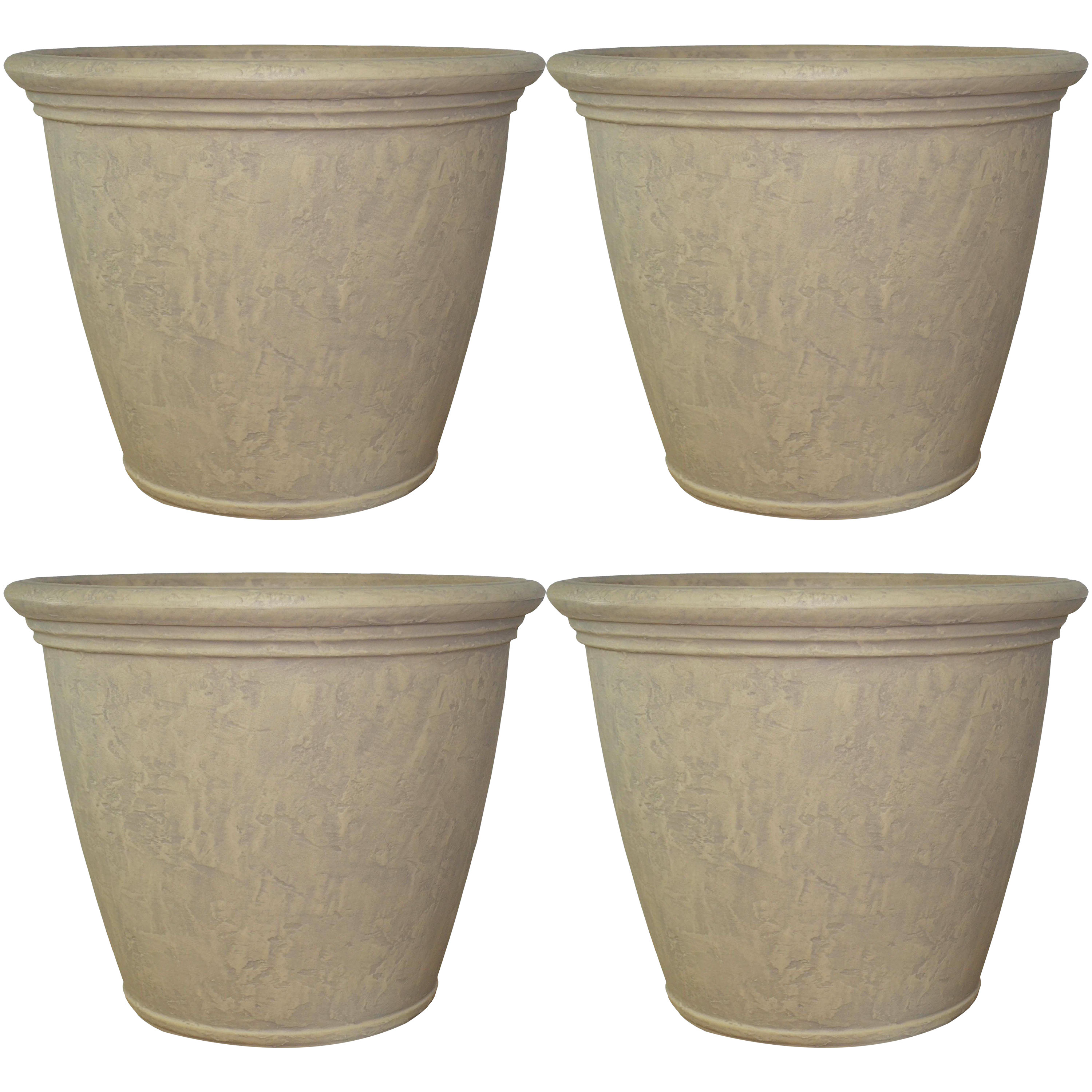 Flower Pot Planter Unbreakable Double Walled Pebble Grey Large Photo
