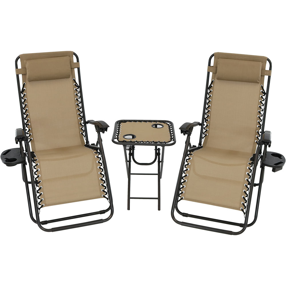 Lounge Chairs Patio Table Cupholders Pillows Khaki