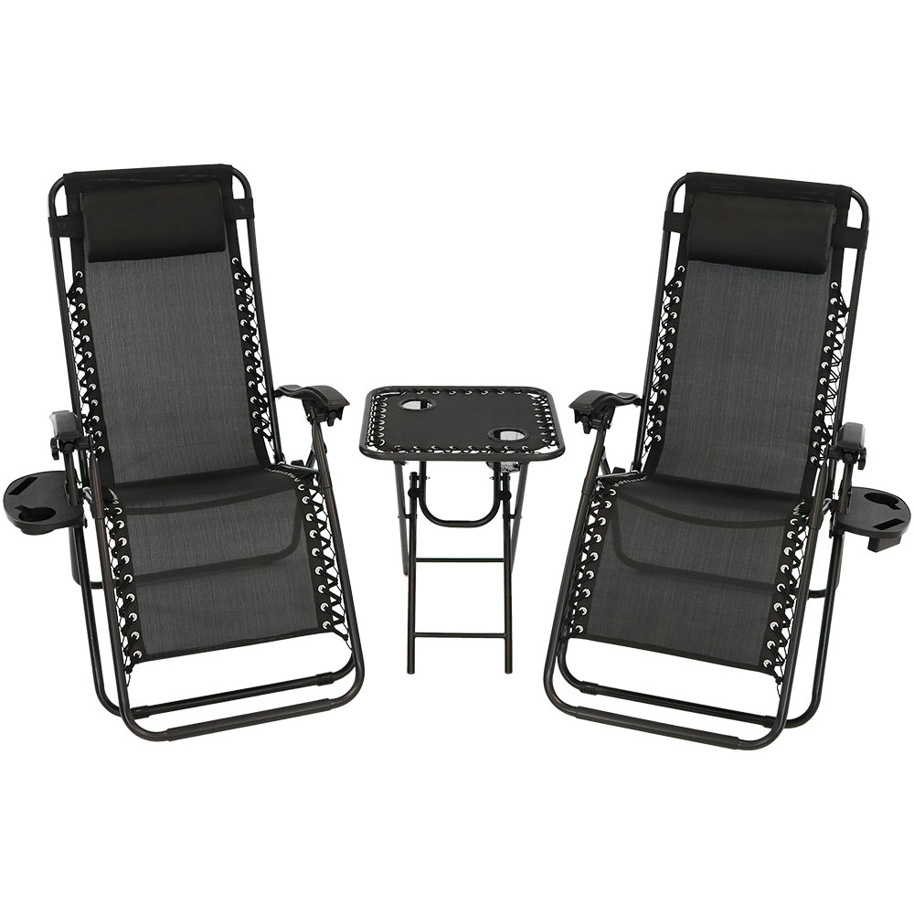 Reclining Lounge Chairs Pillows Cup Holders Table Built In Cup Holders Black Photo