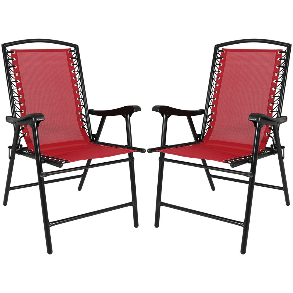 Folding Suspension Lounge Chair Lawn Chairs Red Photo