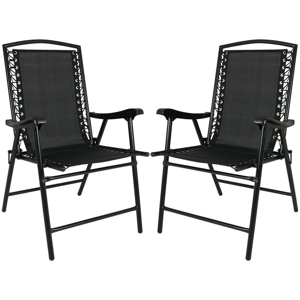 Folding Suspension Lounge Chair Lawn Chairs Black Photo