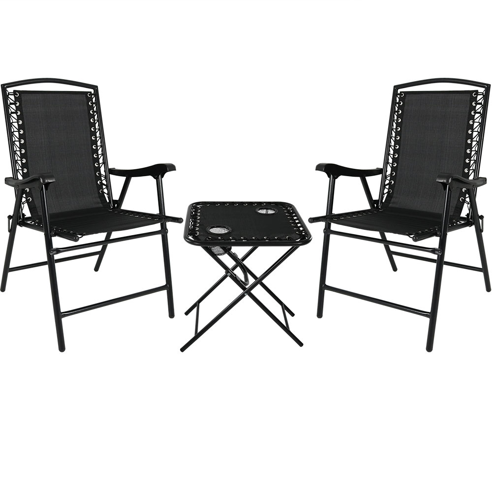 Folding Suspension Lounge Chair Set Lawn Chairs Side Table Black Photo
