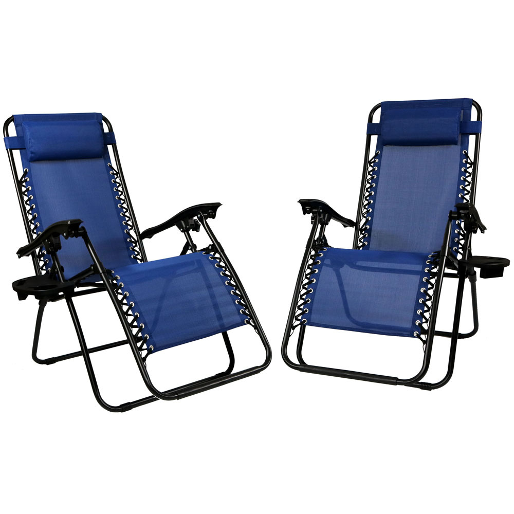 Lounge Chair Pillow Cup Holder Folding Patio Lawn Recliner Navy Blue Photo
