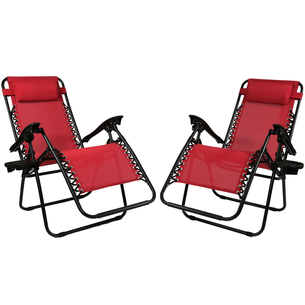 Sunnydaze Red Zero Gravity Lounge Chair with Pillow and Cup Holder, Set of Two DL-731