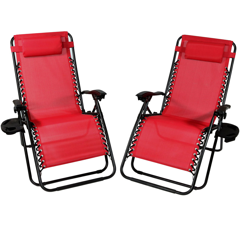 Lounge Chair Pillow Cup Holder Folding Patio Lawn Recliner Red Photo