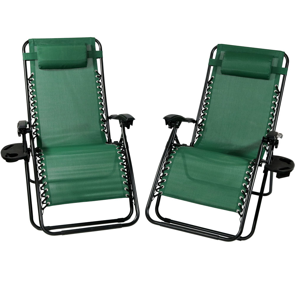 Lounge Chair Pillow Cup Holder Folding Patio Lawn Recliner Forest Green Photo