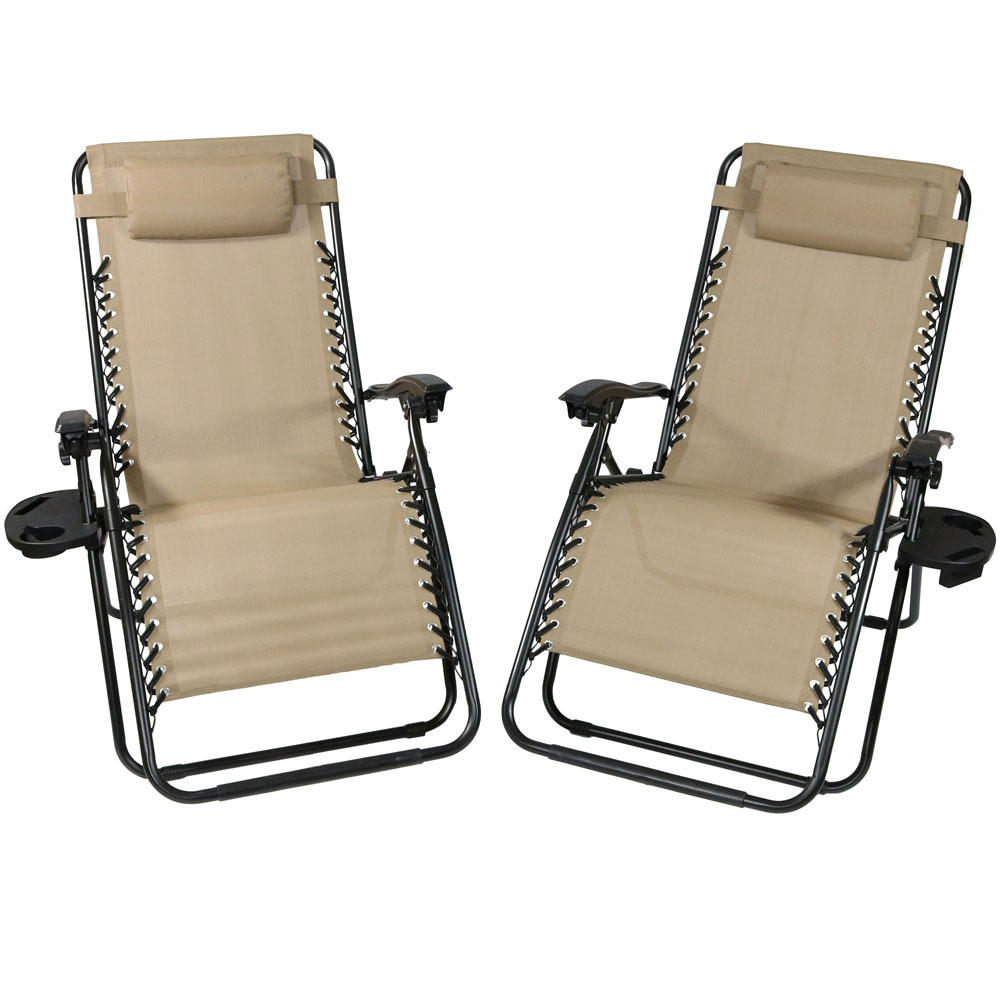 Lounge Chair Pillow Cup Holder Folding Patio Lawn Recliner Khaki Photo