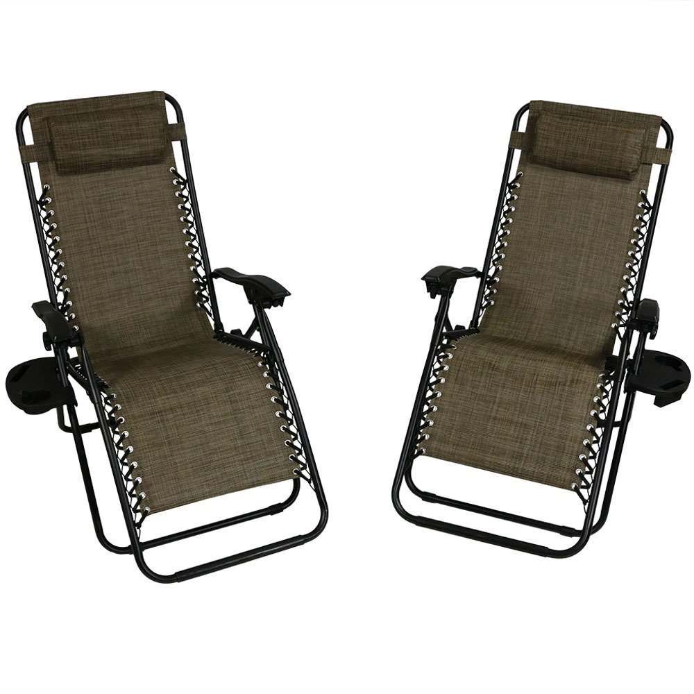 Lounge Chair Pillow Cup Holder Folding Patio Lawn Recliner Dark Brown Photo