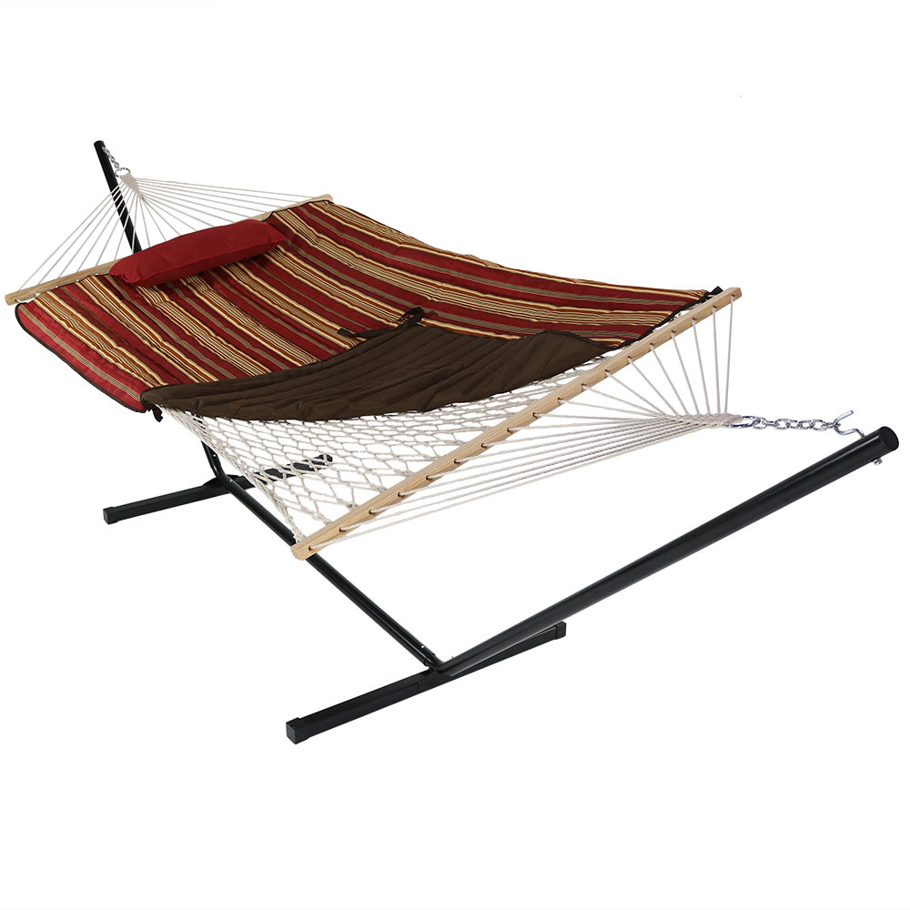 Rope Hammock Portable Stand Spreader Bar Use Pad Pillow Awning Stripe Photo
