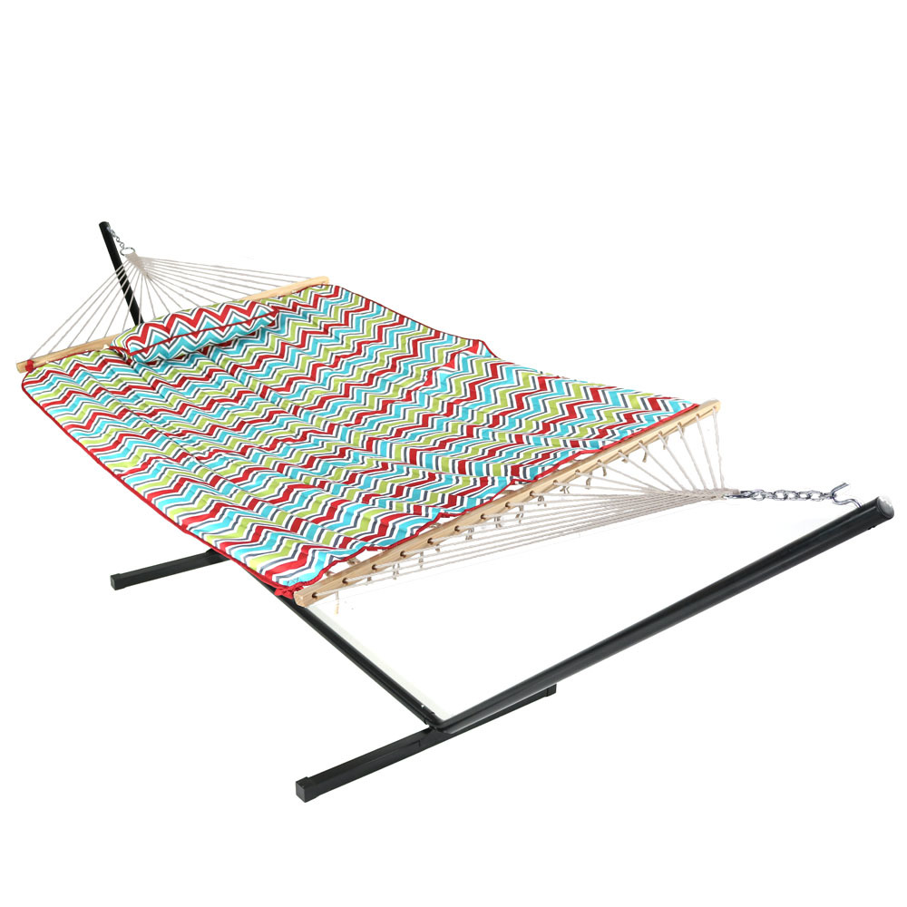 Rope Hammock Portable Stand Spreader Bar Use Pad Pillow Color Chevron Photo