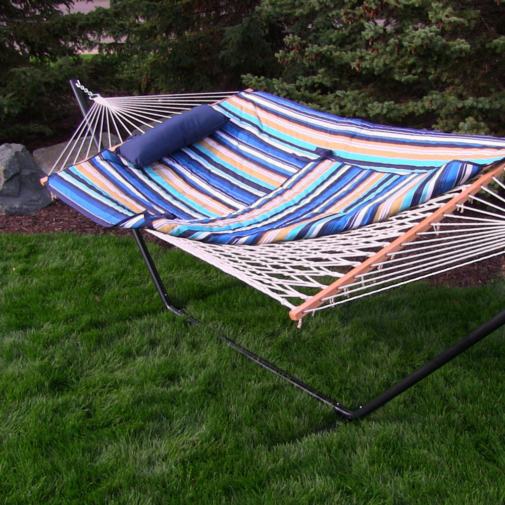 Sunnydaze Rope Hammock With Stand Pad Amp Pillow Portable