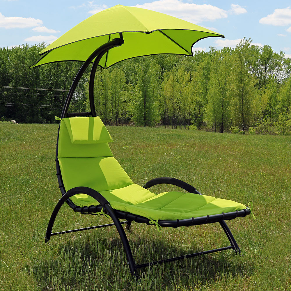 Sunnydaze chaise lounge chair with canopy removable pad for Canopy chaise lounge
