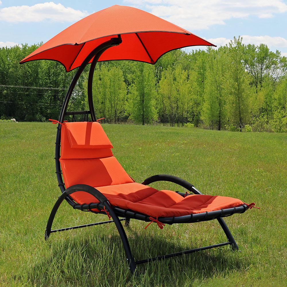 Sunnydaze Chaise Lounge Chair With Canopy Amp Removable Pad