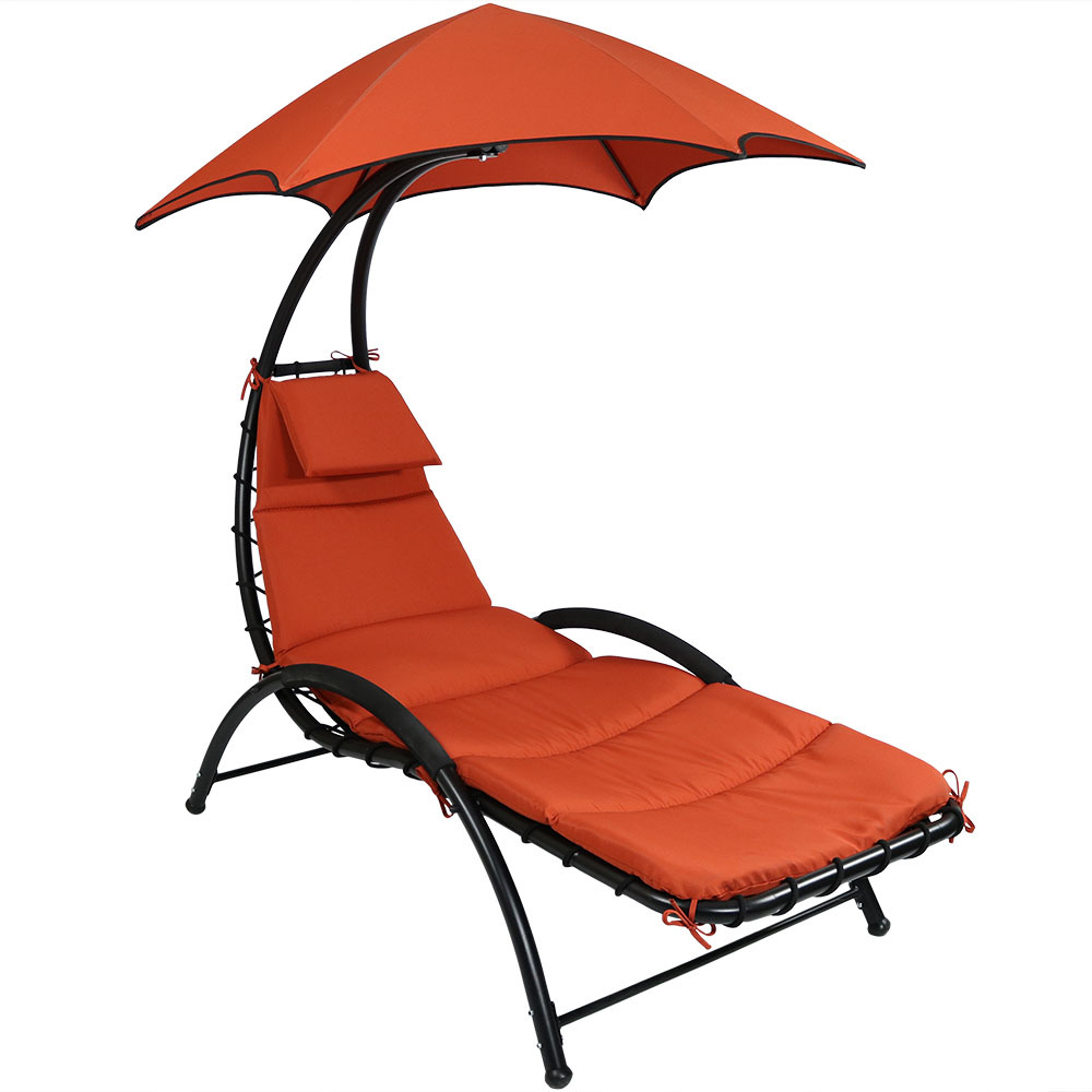Sunnydaze chaise lounge chair with canopy removable pad for Chaise lounge canopy
