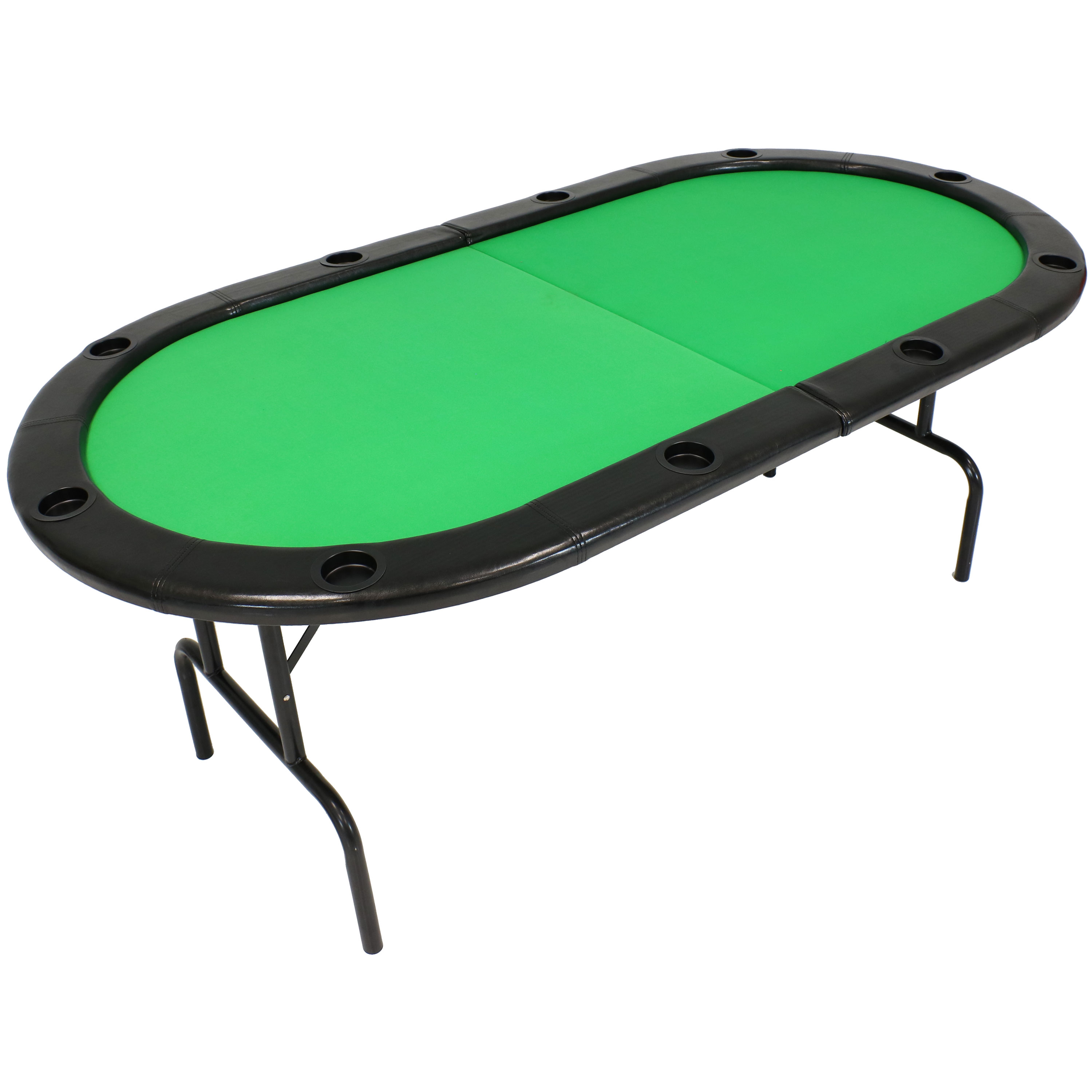 Folding Oval Poker Table Players Cushioned Rail Built In Cup Holders