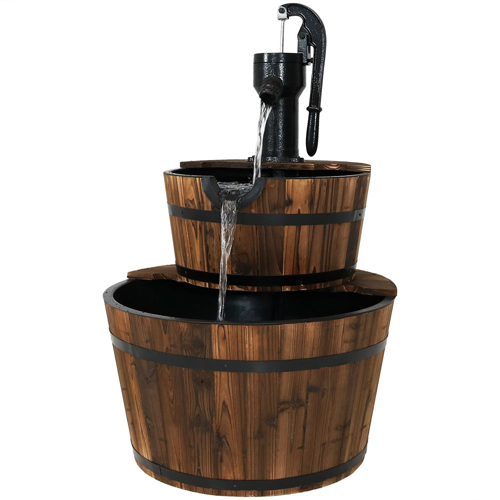 Wood Barrel Water Fountain Hand Pump Cascading Waterfall Fountain Garden Backyard Patio Po Photo