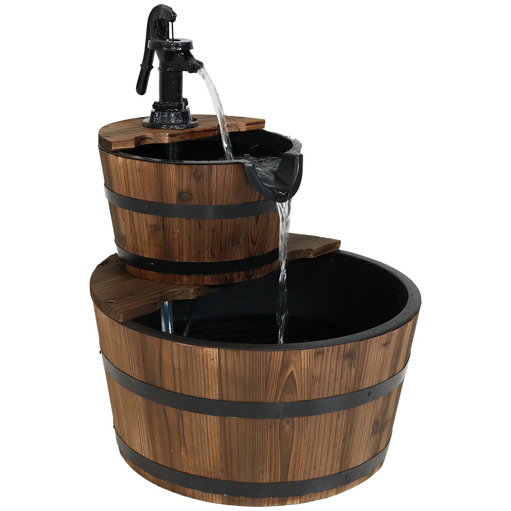 Country Wood Barrel Water Fountain Hand Pump