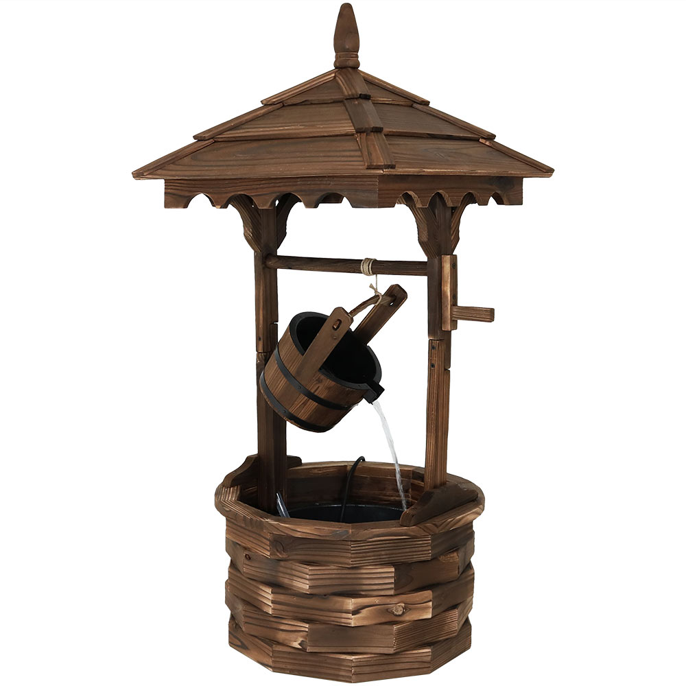 Old Fashioned Wood Wishing Well Fountain Liner Garden Water Photo