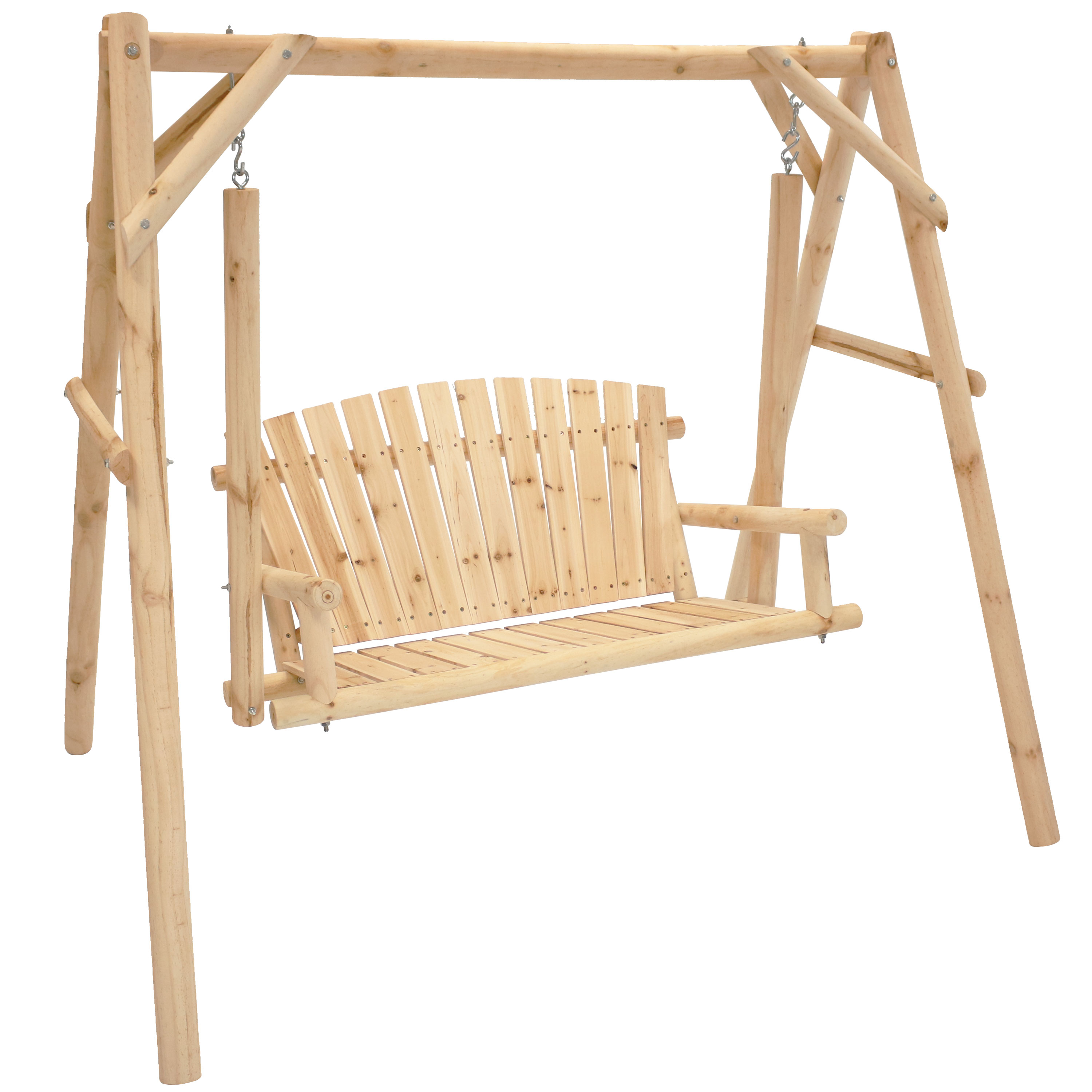 Log Wood Patio Swing Stand Cabin Inspired Furniture Photo