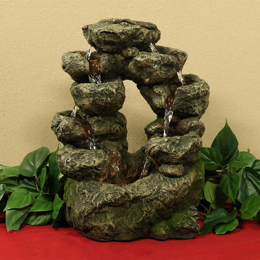 Sunnydaze Cascading Split Rock Falls Tabletop Water Fountain Picture 983