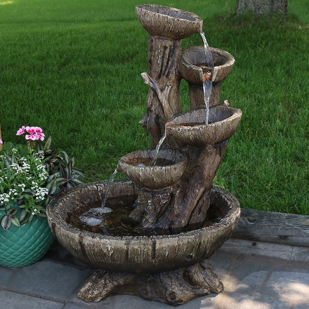 Sunnydaze Outdoor Five Tier Wooden Bowl Water Fountain With LED   32 Inch  Tall