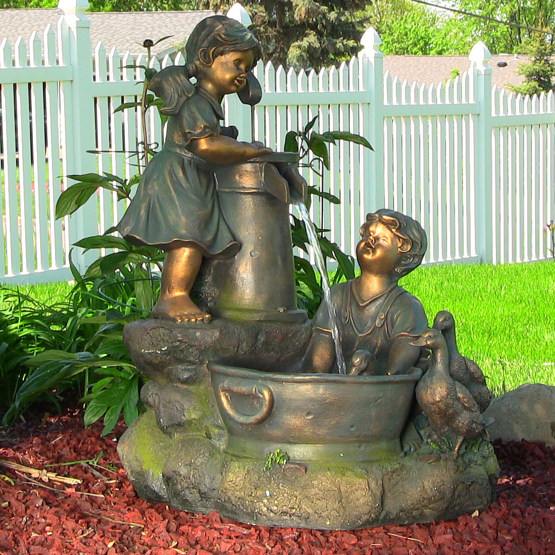 Sunnydaze Country Children Water Pump Fountain Picture 138