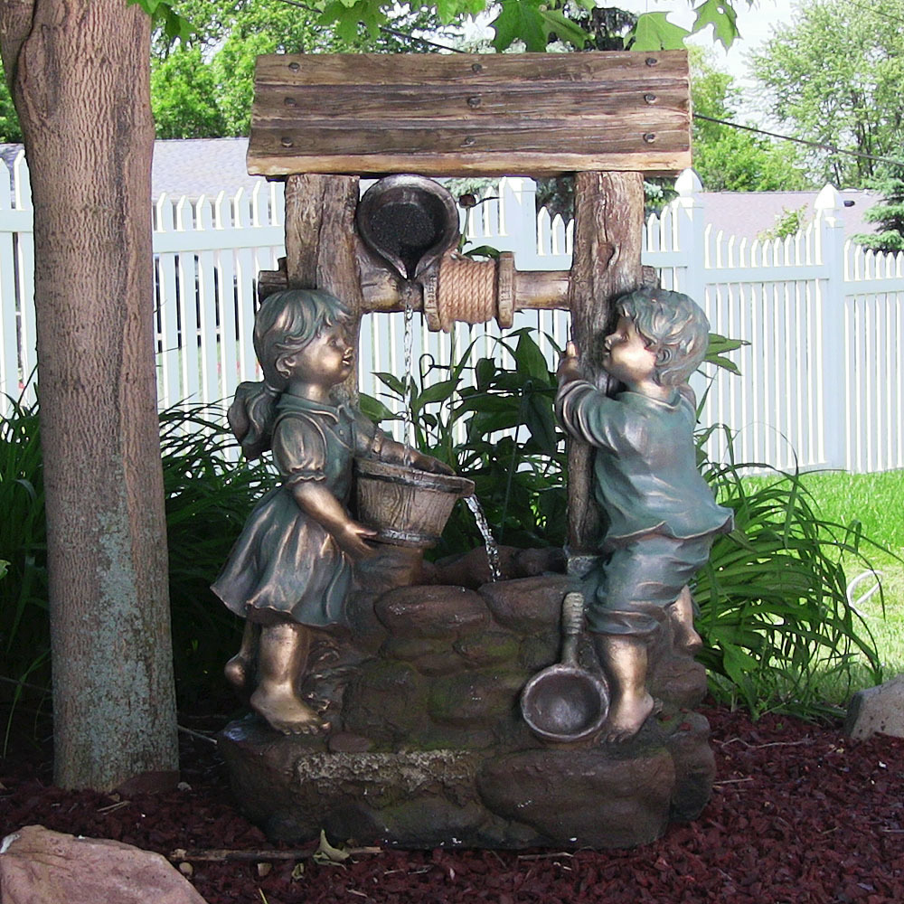 Children At The Well Outdoor Water Fountain Image 736
