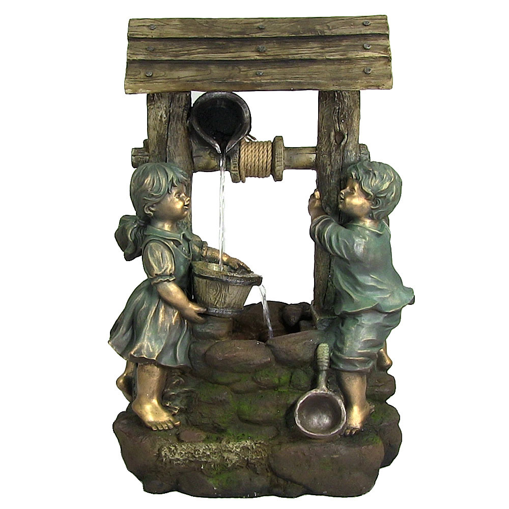 Children At Well Water Fountain Led Light Tall Photo