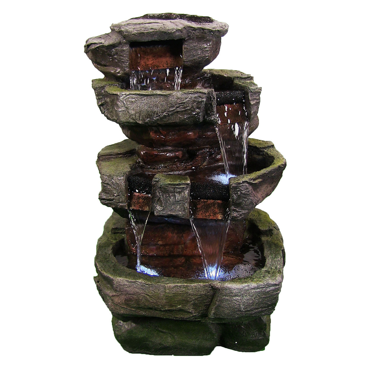 Water Fountain Stone Waterfall Yard Garden Led Lights Height Photo