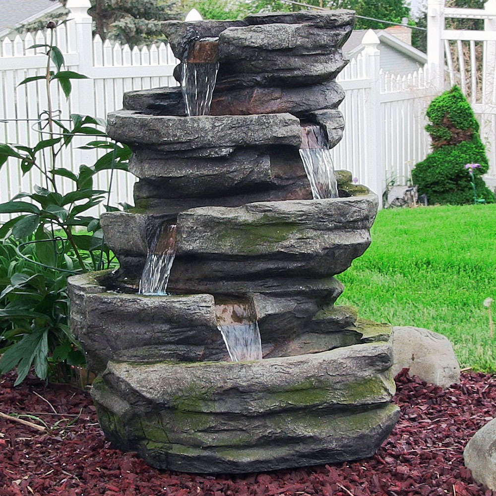Sunnydaze lighted cobblestone waterfall fountain with led for Garden waterfall