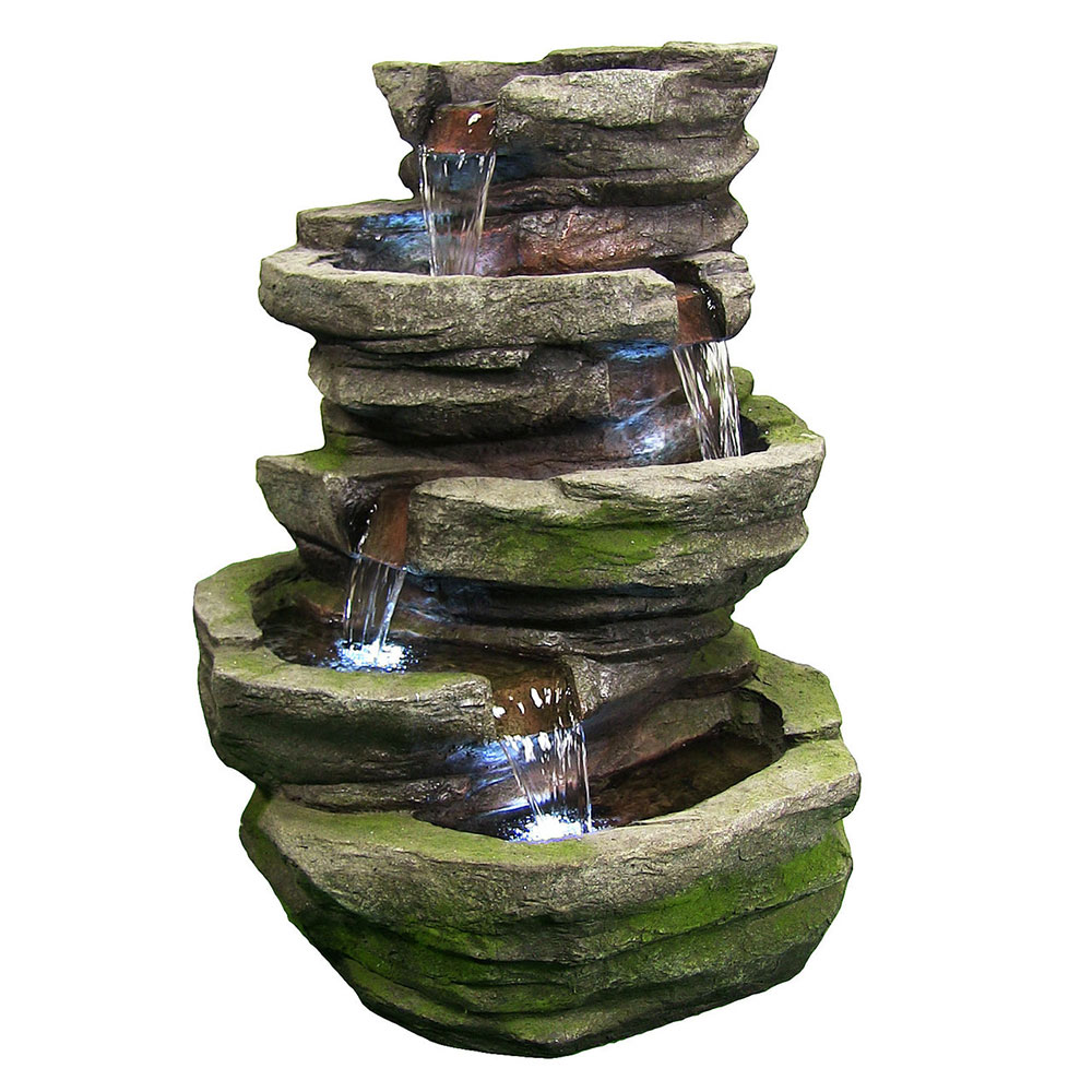 Lighted Cobblestone Waterfall Fountain Led Lights Tall Photo