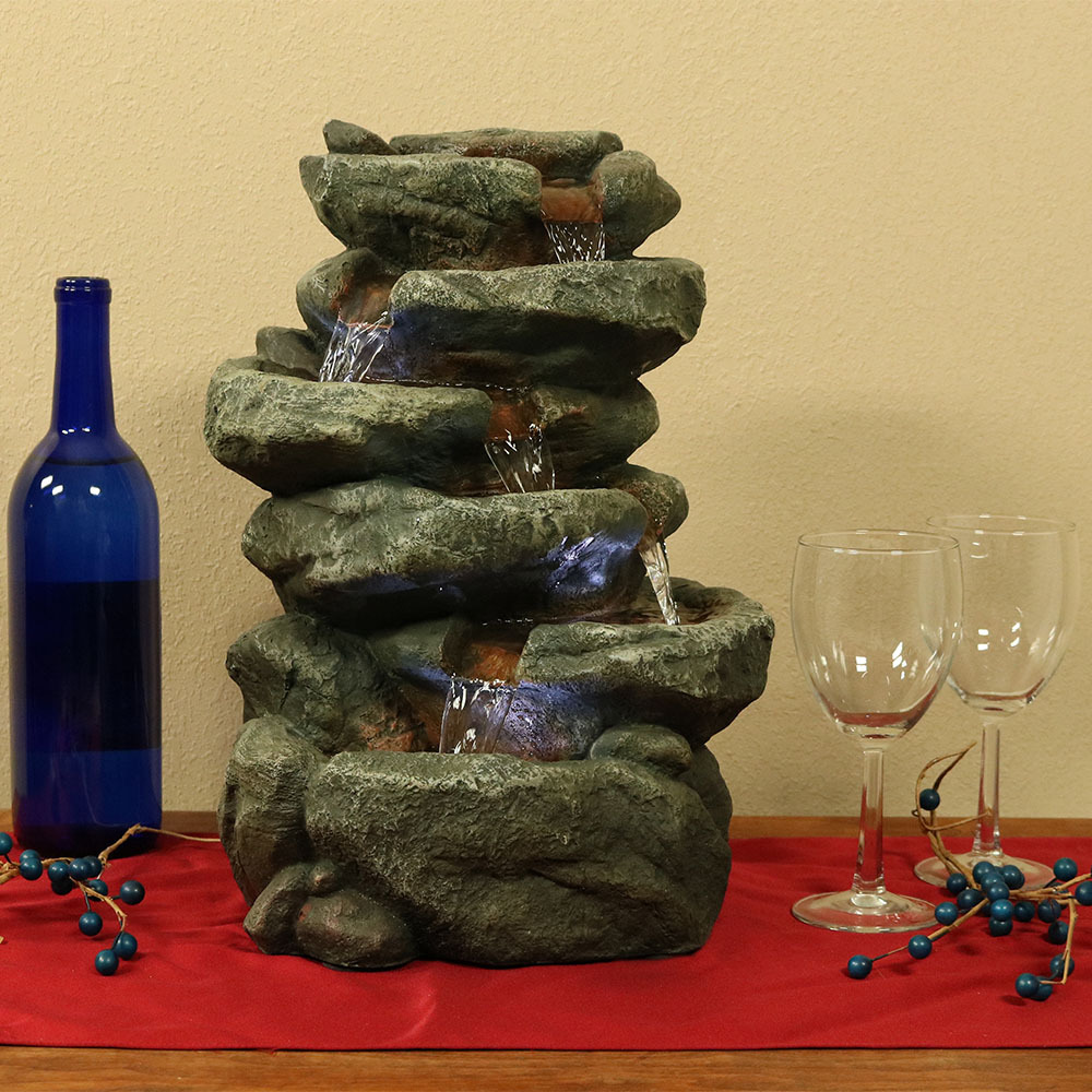 15 Inch 6 Tiered Stone Rock Falls Indoor Waterfall