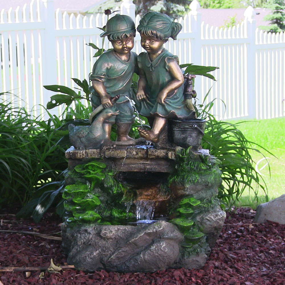 Children Discovering Nature Outdoor Water Fountain Image 209