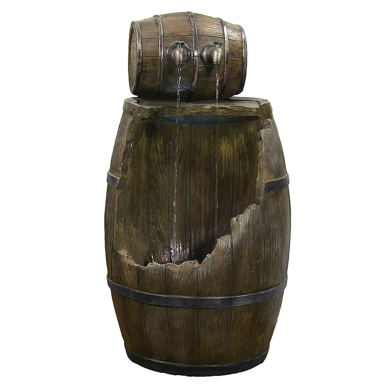 Old Time Saloon Barrel Water Fountain Led Lights Tall Photo