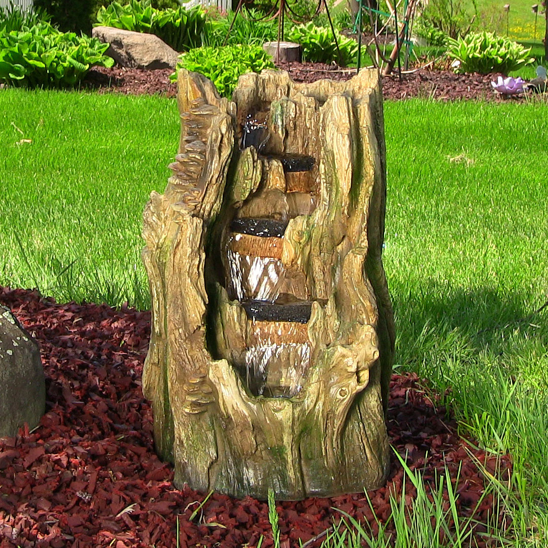 Sunnydaze Tree Trunk Falls Outdoor Water Fountain Picture 493