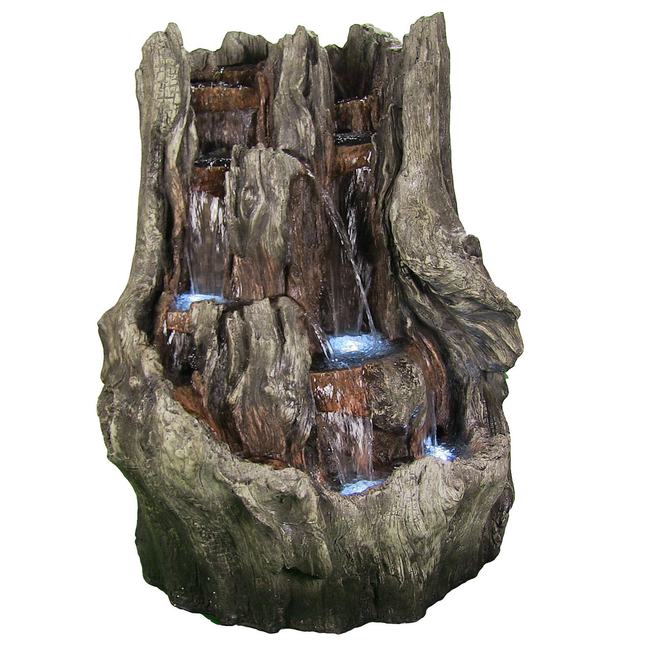 Cascading Mountain Falls Water Fountain Led Lights Tall Photo