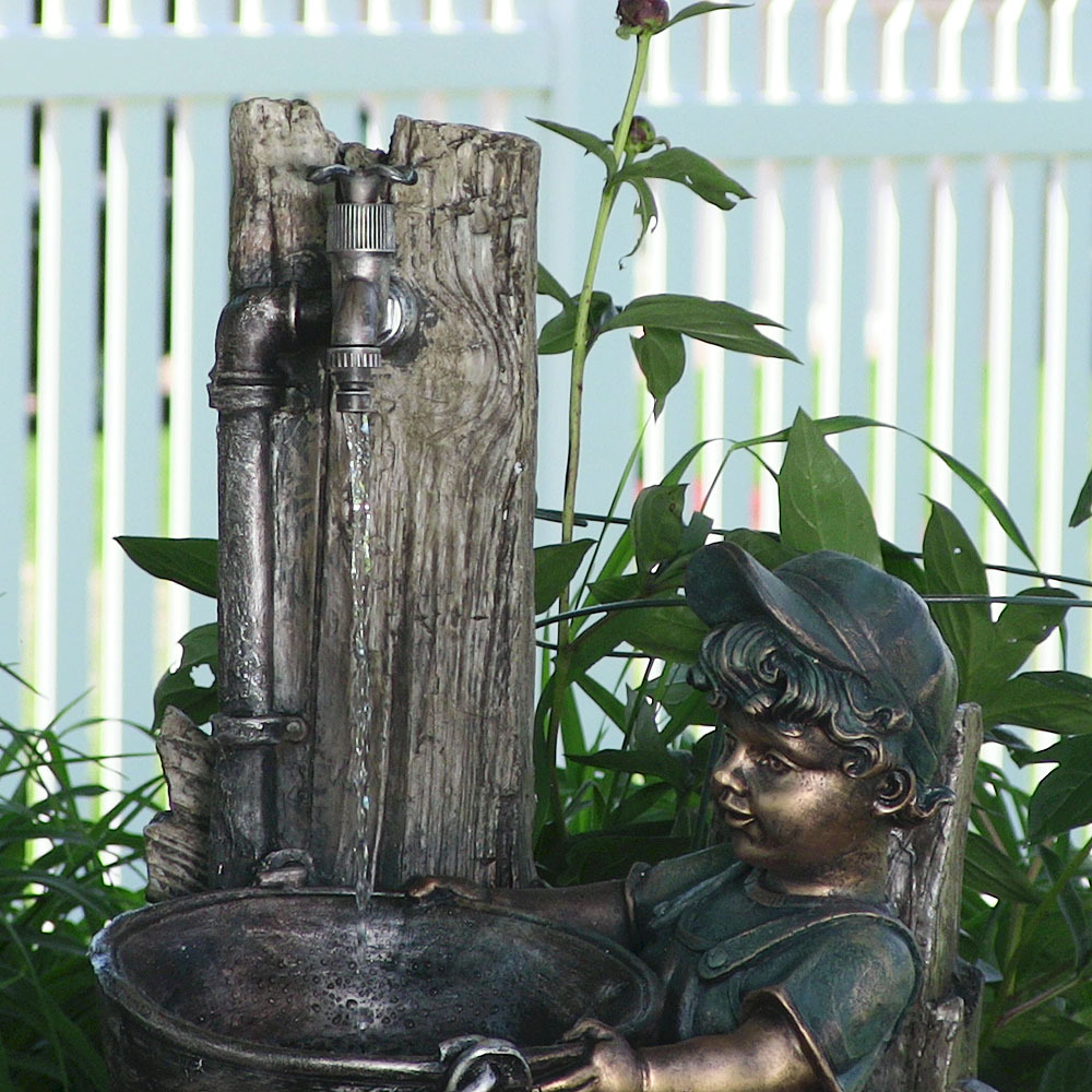 Sunnydaze Decor Boy Dog Fetching Water Outdoor Fountain With Led Lights 30 Inch