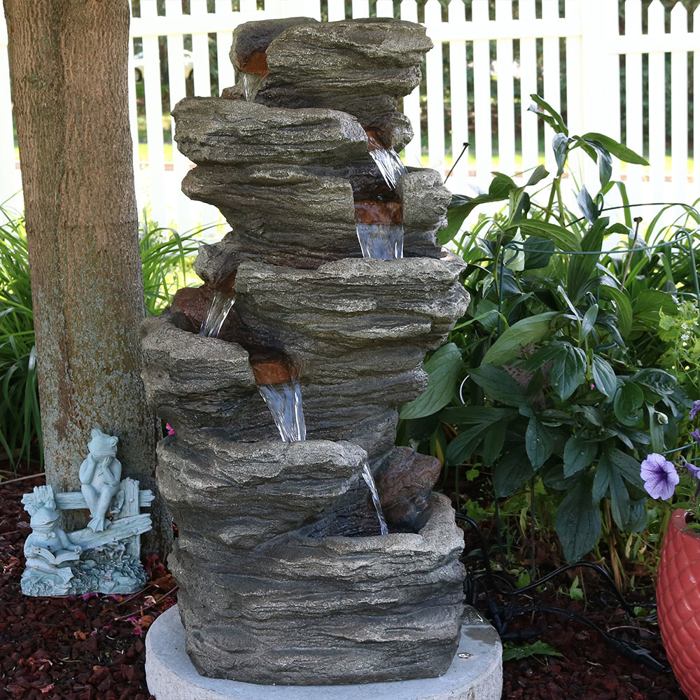 Sunnydaze Multi Level Flatrock Outdoor Water Fountain Image 402