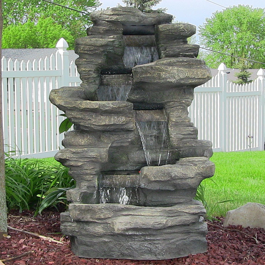 Outdoor Electric Stacked Shale Patio Garden Water Fountain with LED lights