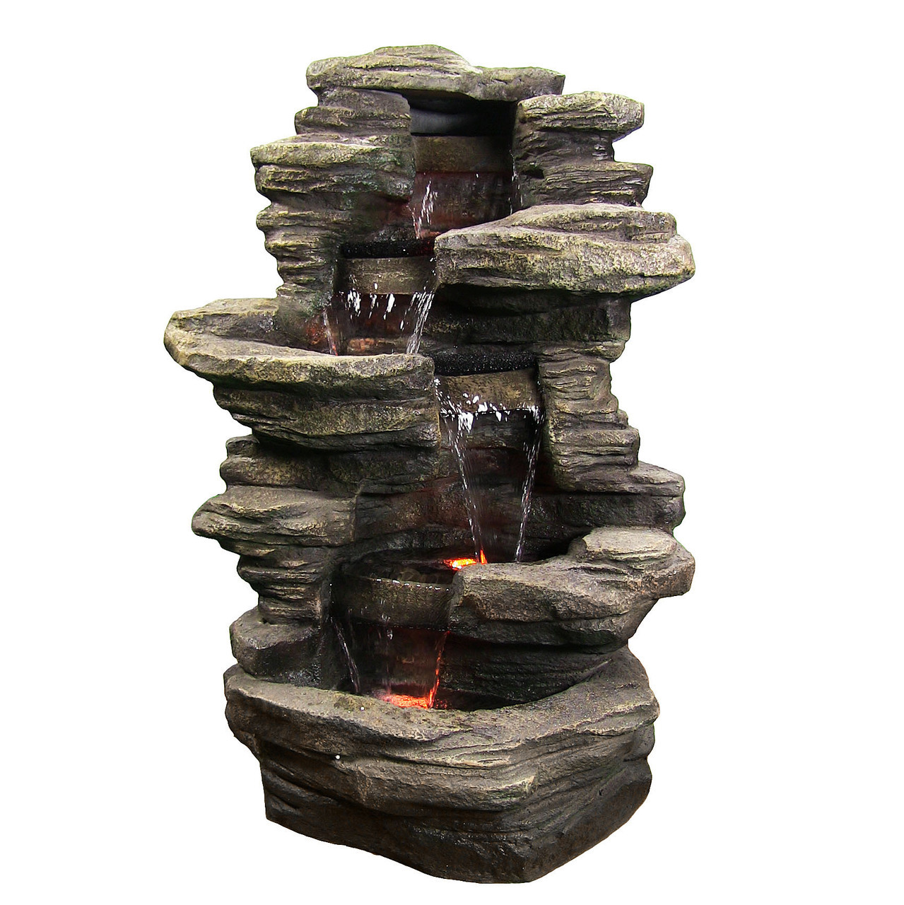 Stacked Shale Waterfall Fountain Led Lights Tall Photo