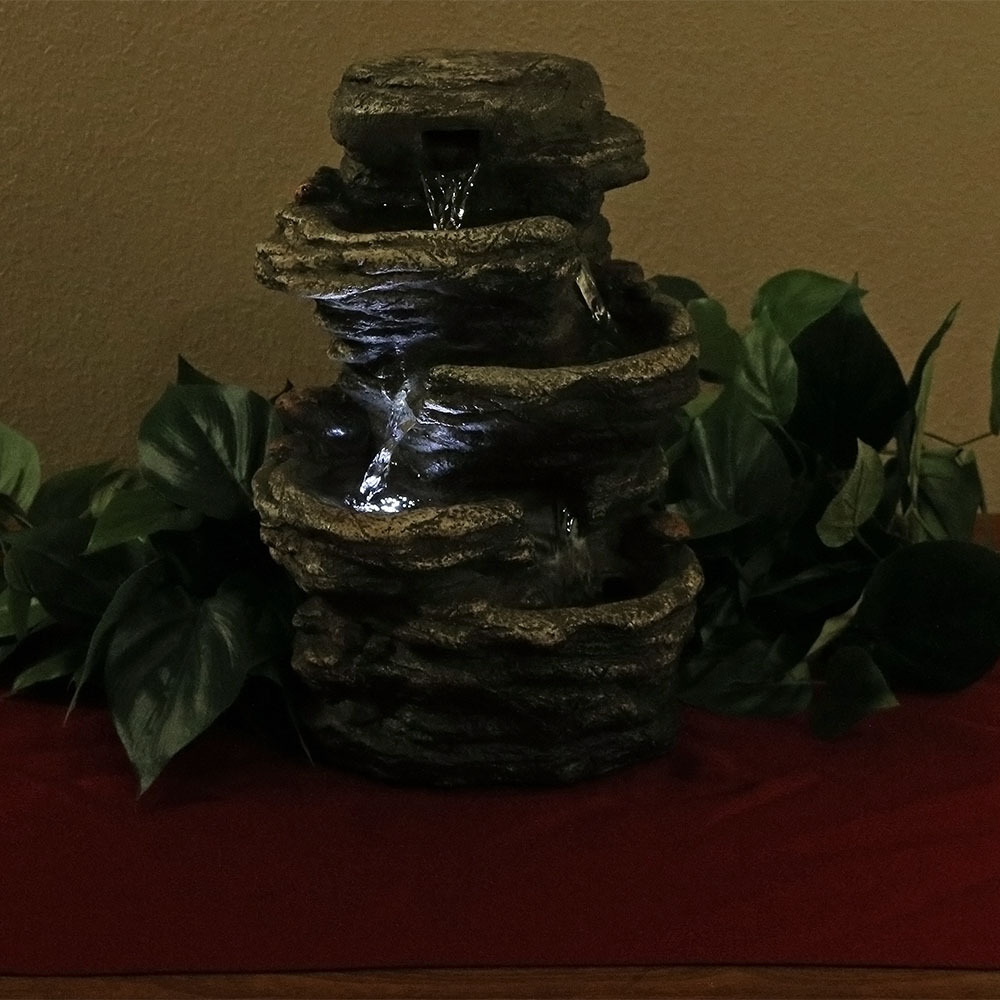 Flat Rock 4 Tiered Indoor Waterfall Fountain Water Feature